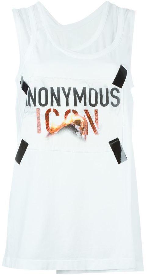 Camiseta sin manga estampada blanca de Maison Margiela