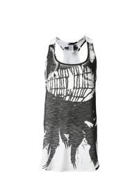 Camiseta sin manga estampada en blanco y negro de Ann Demeulemeester
