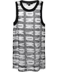 Camiseta sin manga estampada en blanco y negro de DKNY