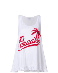 Camiseta sin Manga Estampada en Blanco y Rojo de P.A.R.O.S.H.