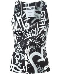 Camiseta sin Manga Estampada en Negro y Blanco de Moschino