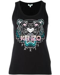 Camiseta sin Manga Estampada Negra de Kenzo