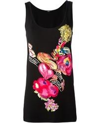 Camiseta sin manga estampada negra de Versace
