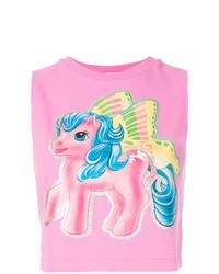 Camiseta sin manga estampada rosa de Moschino