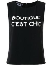 Camiseta sin manga negra de Moschino
