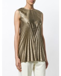 Camiseta sin manga plisada dorada de Maison Margiela