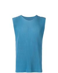 Camiseta sin mangas azul de Homme Plissé Issey Miyake