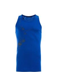 Camiseta sin mangas bordada azul de Haider Ackermann