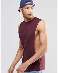 Camiseta sin mangas burdeos
