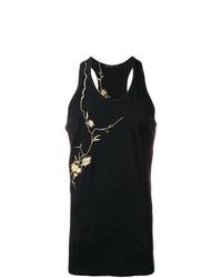Camiseta sin mangas con print de flores negra de Haider Ackermann