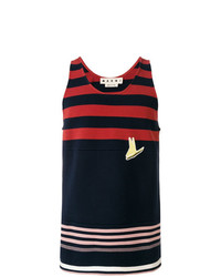 Camiseta sin mangas de rayas horizontales azul marino de Marni