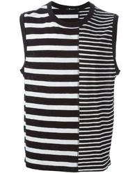 Camiseta sin mangas de rayas horizontales en blanco y negro de Alexander Wang