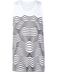 Camiseta sin mangas de rayas horizontales en blanco y negro de Neil Barrett