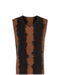 Camiseta sin mangas en marrón oscuro de Homme Plissé Issey Miyake