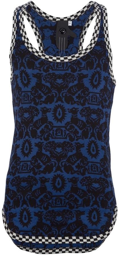Camiseta sin mangas estampada azul marino de Bernhard Willhelm
