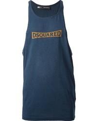 Camiseta sin mangas estampada azul marino de DSquared