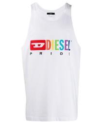 Camiseta sin mangas estampada blanca de Diesel