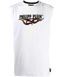Camiseta sin mangas estampada blanca de Philipp Plein