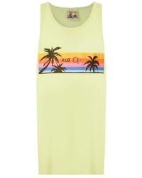 Camiseta sin mangas estampada en amarillo verdoso de Àlg