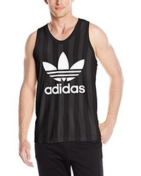 Camiseta sin mangas estampada en negro y blanco de adidas