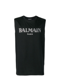 Camiseta sin mangas estampada en negro y blanco de Balmain