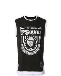 Camiseta sin mangas estampada en negro y blanco de Plein Sport