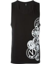 Camiseta sin mangas estampada en negro y blanco de Versus