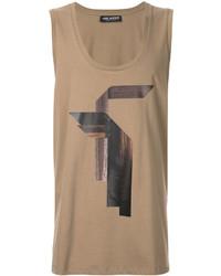 Camiseta sin mangas estampada marrón claro de Neil Barrett