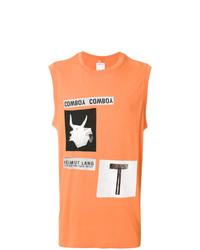 Camiseta sin mangas estampada naranja de Helmut Lang