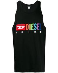 Camiseta sin mangas estampada negra de Diesel