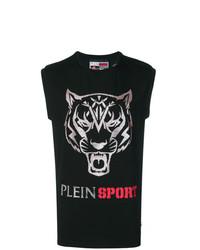 Camiseta sin mangas estampada negra de Plein Sport