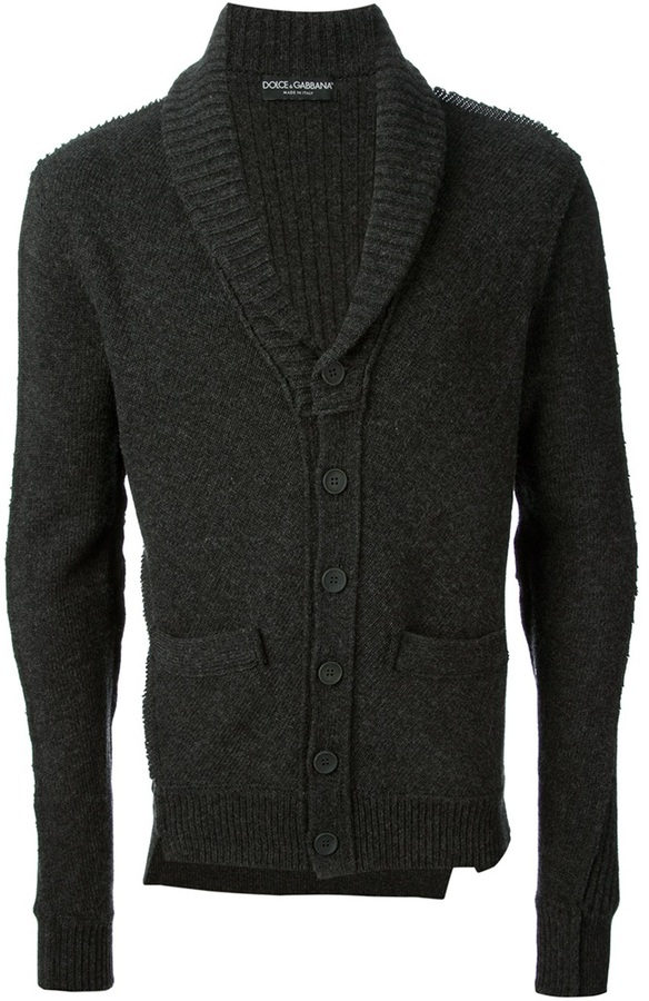Cárdigan con cuello chal en gris oscuro de Dolce & Gabbana