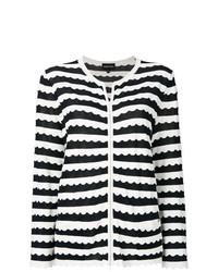 Cárdigan de rayas horizontales en negro y blanco de Emporio Armani