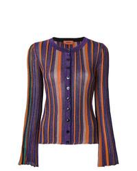 Cárdigan de rayas verticales en violeta de Missoni