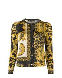 Cárdigan estampado amarillo de Versace