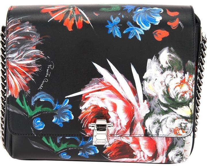 Cartera con print de flores en multicolor de Roberto Cavalli