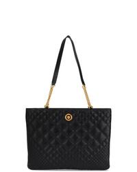 Cartera de cuero acolchada negra de Versace