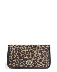 Cartera sobre de ante de leopardo marrón