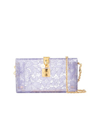 Cartera sobre de cuero con print de flores violeta claro de Dolce & Gabbana