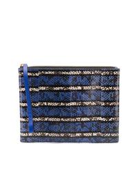 Cartera sobre de cuero con print de serpiente azul marino de Marni