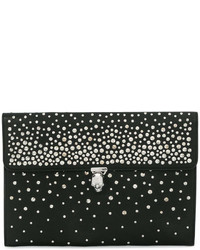 Cartera sobre de cuero con tachuelas negra de Alexander McQueen