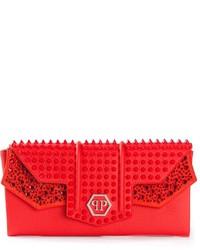 Cartera Sobre de Cuero con Tachuelas Roja de Philipp Plein