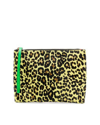 Cartera sobre de cuero de leopardo amarilla de Marni