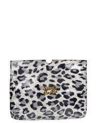Cartera sobre de cuero de leopardo gris