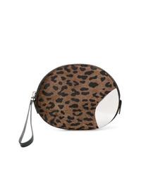 Cartera Sobre de Cuero de Leopardo Marrón de Giuseppe Zanotti Design