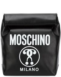 Cartera sobre de cuero estampada negra de Moschino