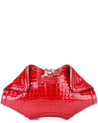 Cartera Sobre de Cuero Roja de Alexander McQueen