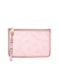 Cartera sobre de cuero rosada de Moschino