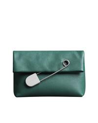 Cartera Sobre de Cuero Verde Azulado de Burberry