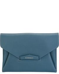 Cartera Sobre de Cuero Verde Azulado de Givenchy